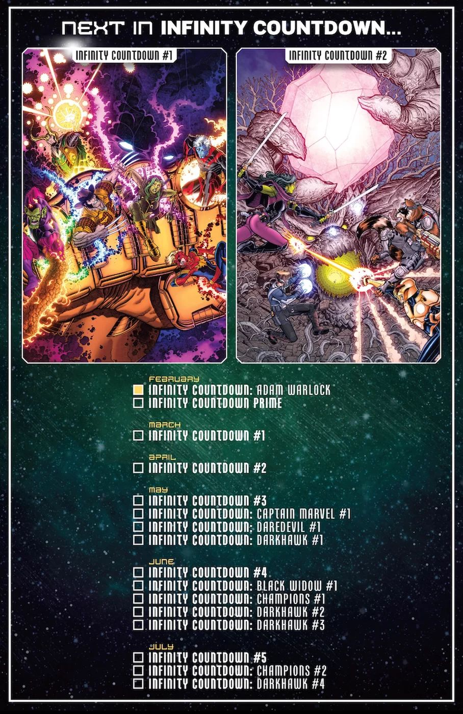 Infinity Countdown Checklist